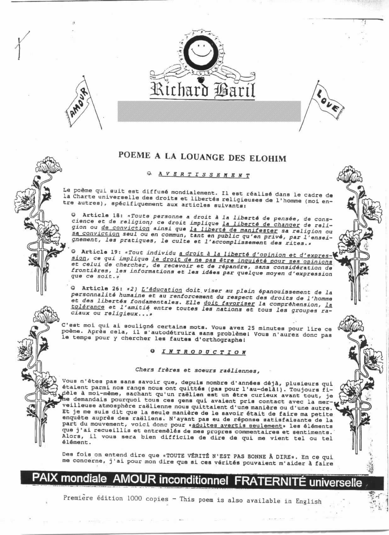 Lettre de Richard Baril 1